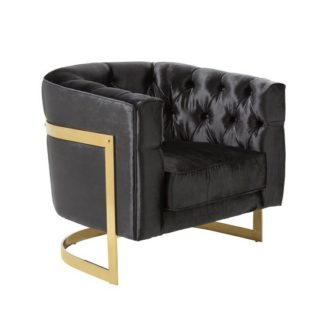 An Image of Lincoln Accent Chair In Black Velvet And Gold Plated Steel