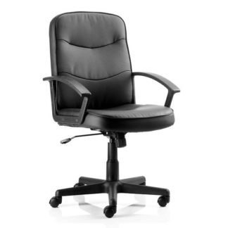 An Image of Janelle Bonded Leather Office Chair In Blue With Padded Seat