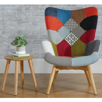 An Image of Sloane Fabric Lounge Chaise Armchair In Patched