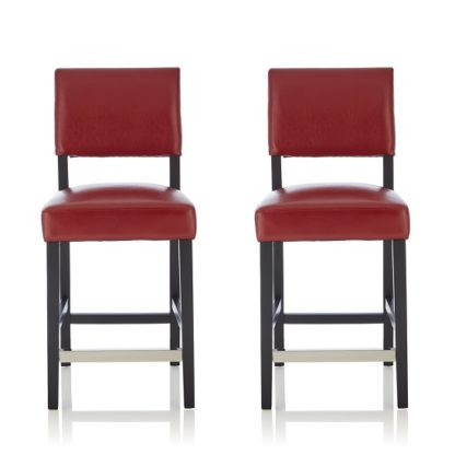 An Image of Vibio Bar Stools In Red PU With Black Legs In A Pair
