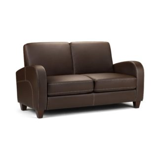 An Image of Vivo 2 Seater Sofa in Chestnut Faux Leather