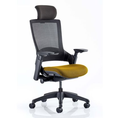 An Image of Molet Black Back Headrest Office Chair With Senna Yellow Seat