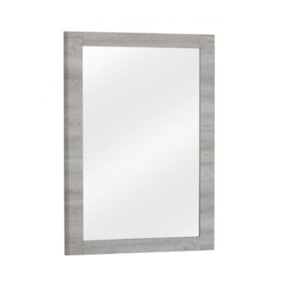 An Image of Rufford Wooden Wall Mirror Rectangular In Grey Oak Effect