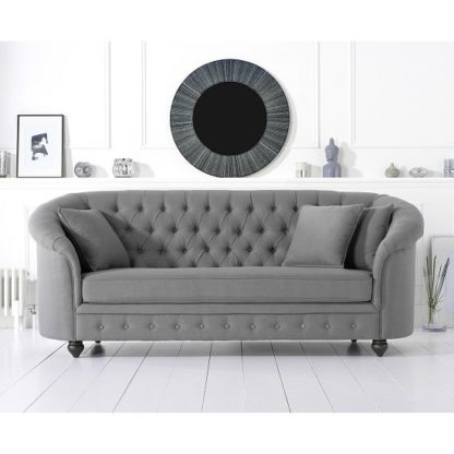 An Image of Astoria Chesterfield 3 Seater Sofa In Grey Linen Fabric