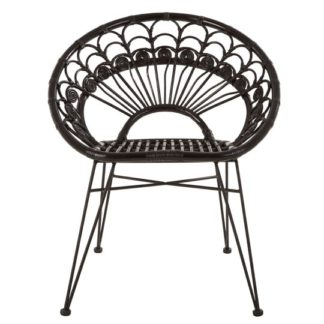 An Image of Hunor Black Kubu Rattan Chair With Black Iron Legs