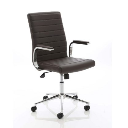 An Image of Tylor Executive Chair In Brown Bonded Leather With Wheels