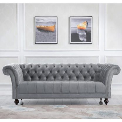 An Image of Chester Fabric 3 Seater Sofa In Midnight Grey