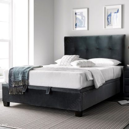 An Image of Florus Ottoman Storage Super King Bed In Velvet Cliffe Mid Grey