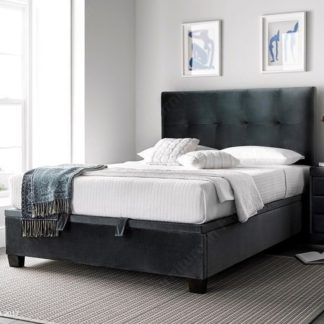 An Image of Florus Ottoman Storage Double Bed In Velvet Cliffe Mid Grey
