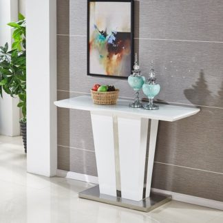 An Image of Memphis Console Table In White High Gloss With Glass Top