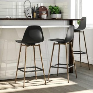 An Image of Copley Plastic Bar Stool In Black