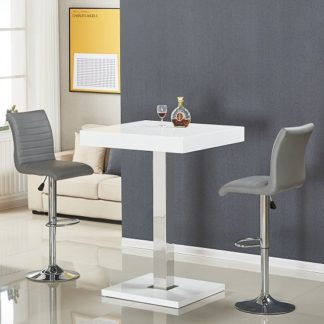 An Image of Topaz Bar Table In White Gloss With 2 Ripple Grey Stools