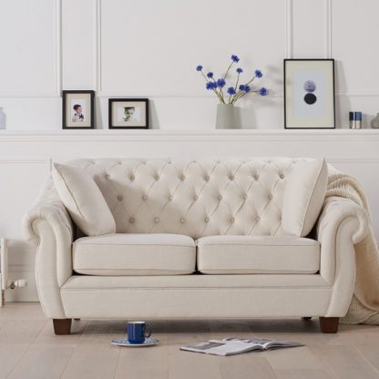 An Image of Sylvan Chesterfield Style Fabric 2 Seater Sofa In Ivory