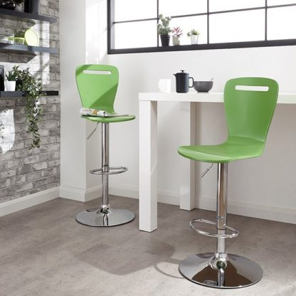 An Image of Long Island Mint Wooden Gas-lift Bar Stools In Pair