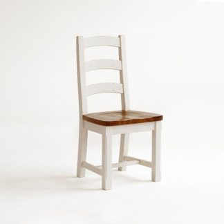 An Image of Boddem Dining Chair In White Pine Wood Cottage Style
