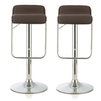 An Image of Mestler Modern Bar Stool In Cappuccino Faux Leather In A Pair