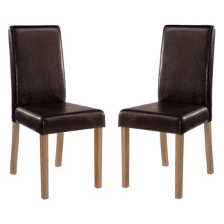 An Image of Oakridge Brown Finish Dining Chairs In Pair