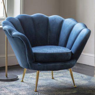 An Image of Rivello Velvet Upholstered Armchair In Inky Blue