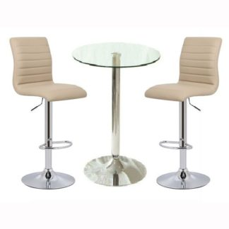 An Image of Gino Bar Table In Clear Glass With 2 Ripple Stone Bar Stools