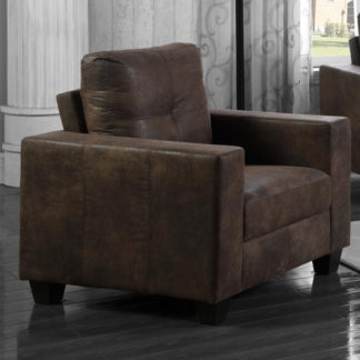 An Image of Lena Antique Fabric 1 Seater Sofa In Brown