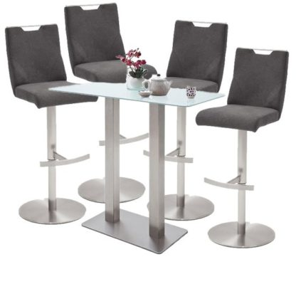 An Image of Soho White Glass Bar Table With 4 Jiulia Fabric Anthracite Stool