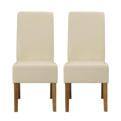 An Image of Padstow Cream Finish Dining Chairs In Pair