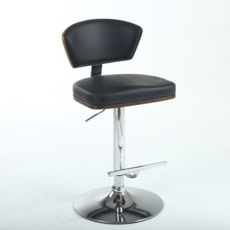 An Image of Aviator Bar Stool In Black Faux Leather With Chrome Base