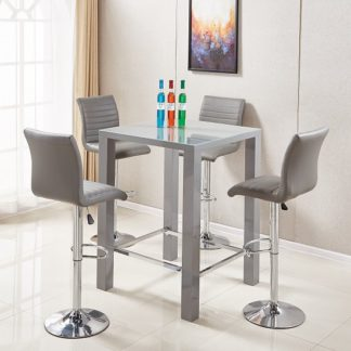 An Image of Jam Glass Bar Table Set Square In Grey Gloss And 4 Ripple Stools