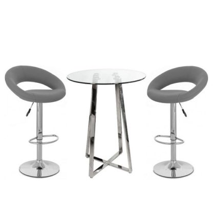 An Image of Poseur Bar Table In Clear Glass With 2 Leoni Grey Bar Stools