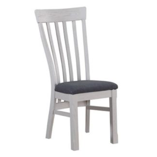 An Image of Trevino Wooden Dining Chairs In Antique Grey Painted