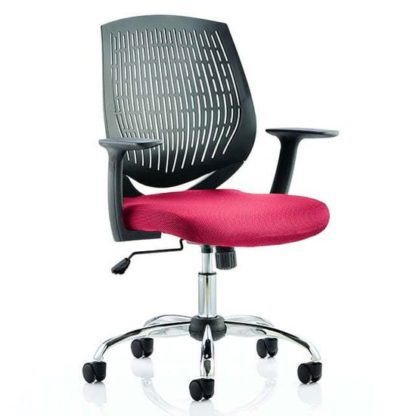 An Image of Dura Black Back Office Chair With Bergamot Cherry Seat