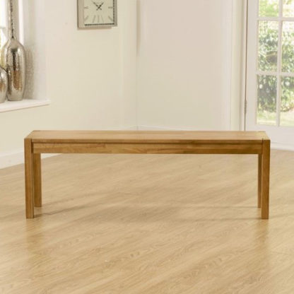 An Image of Elnath Large Dining Bench In Solid Oak