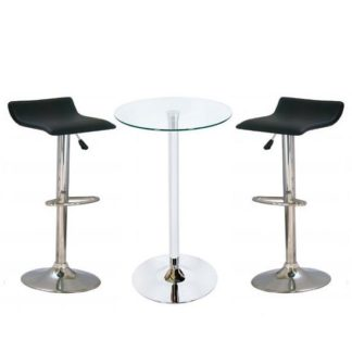 An Image of Bente Glass Bar Table With 2 Stratos Black Bar Stools