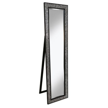 An Image of Aliza Floor Standing Cheval Mirror In Black Silver Mosaic Frame