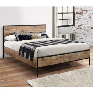 An Image of Coruna Wooden King Size Bed In Rustic And Metal Frame