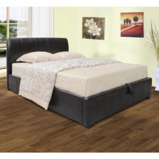 An Image of Savona Faux Leather Storage Single Bed In Black