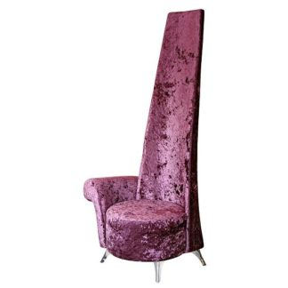 An Image of Alecia Right Handed Potenza Chair In Mulberry Velvet Fabric