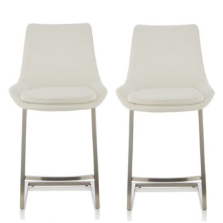 An Image of Rasmus Bar Stool In Cream Faux Leather In A Pair