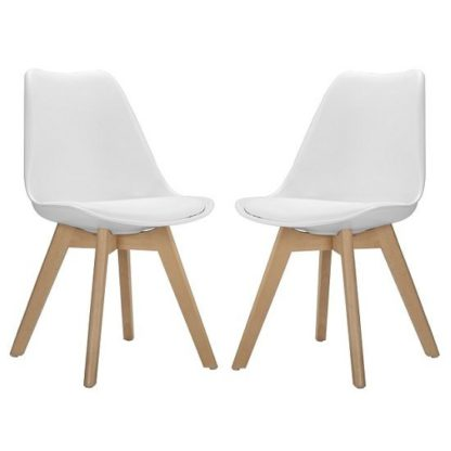 An Image of Sigmon Modern Dining Chairs In Matt White PU Seat In A Pair