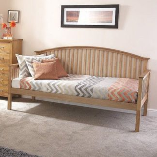 An Image of Madrid Wooden Single Day Bed In Natural Oak