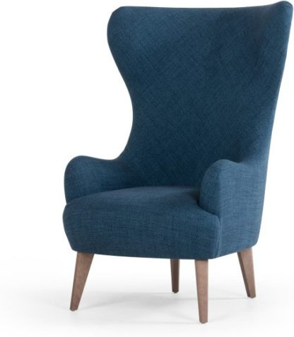 An Image of Custom MADE Bodil Accent Armchair, Thames Blue with Light Wood Leg