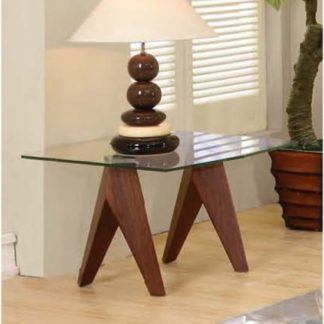 An Image of Mission Clear Glass Lamp Table