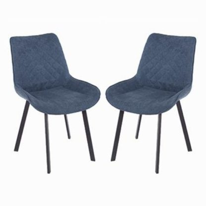 An Image of Arturo Blue Fabric Dining Chair In Pair With Metal Black Legs
