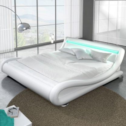 An Image of Modern Designer King Size Bed In White PU With Multi LED