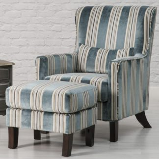 An Image of Humphrey Fabric Accent Chair And Footstool In Blue
