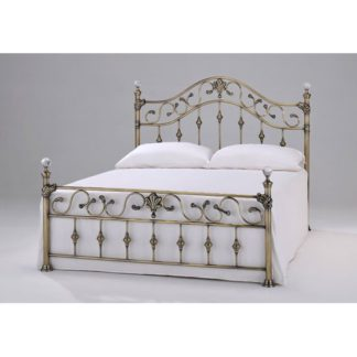 An Image of Elizabeth Brass Finish Metal King Size Bed With Crystal Finials