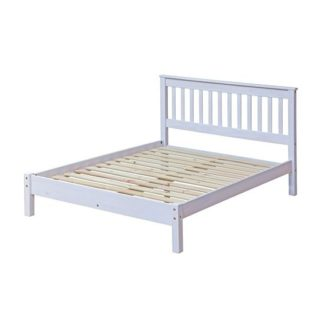 An Image of Corina Double Size Slatted Bed In White Washed Wax Finish