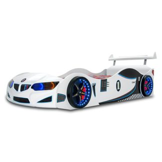 An Image of BMW GTI Childrens Car Bed In White With Spoiler And LED