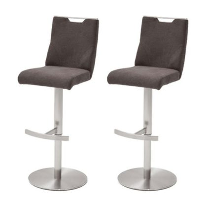 An Image of Jiulia Brown Fabric Bar Stool In Pair With Steel Base