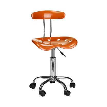 An Image of Hanoi Office Chair In Orange ABS With Chrome Base And 5 Wheels